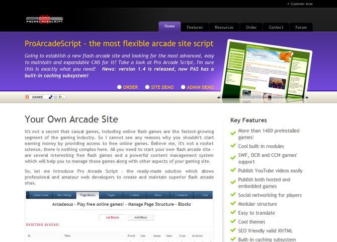 ProArcadeScript - gaming portal CMS