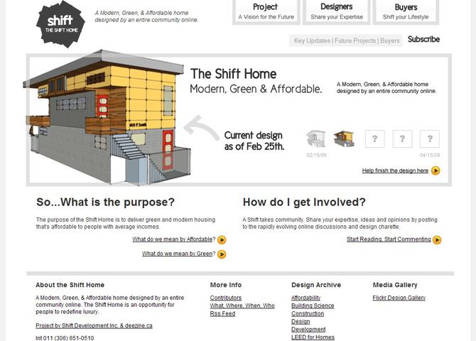 The Shift Home - A Modern, Green, & Affordable home designed by an entire community online.